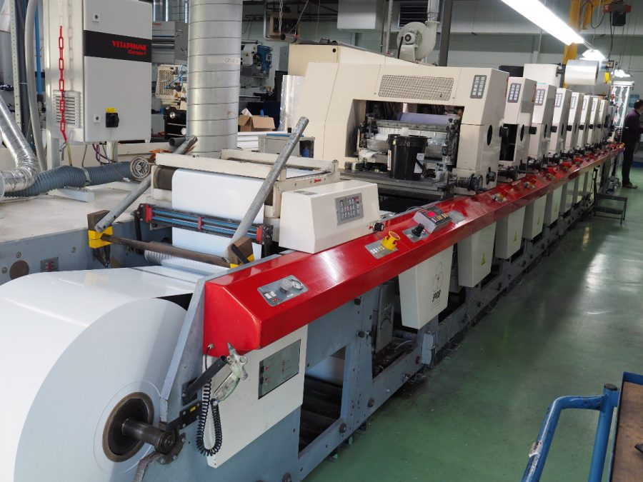 MPS EP 410 8 colours flexo label printer with laminator and sheeting station