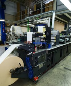 Gallus Arsoma EM 410 - 6 colours flexo label printing press with Gallus Arsoma TR 450 turret rewinder