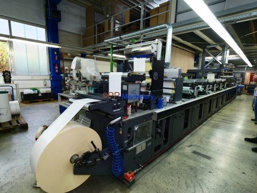 Gallus Arsoma EM 410 - 6 colours flexo label printing press with Gallus Arsoma TR 450 turret rewinder